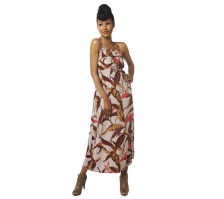 Lisa Rinna Collection Tropical Print Maxi Dress with Ruffle