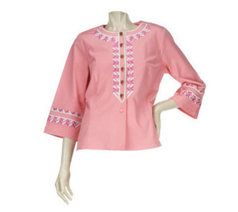 Bob Mackie's Zip Zag Embroidered Button Front Twill Jacket - A223768