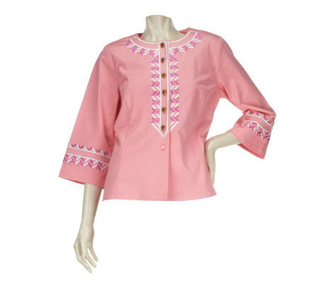 Bob Mackie's Zip Zag Embroidered Button Front Twill Jacket