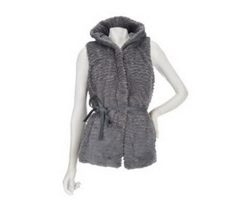 Dennis Basso Sculpted Faux Persian Fur Vest with Hood and Belt - A228368