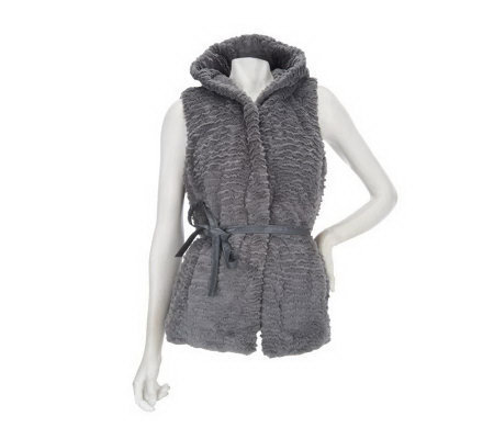 Dennis Basso Sculpted Faux Persian Fur Vest with Hood and Belt