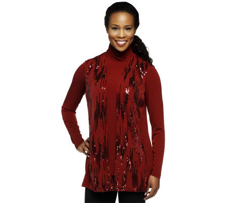 Bob Mackie's Mock Neck Long Sleeve Knit Top and Sequin Vest Set