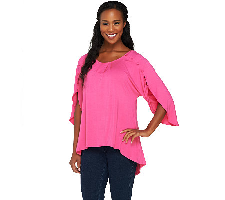 Lisa Rinna Collection Knit Top with Button Sleeve Detail