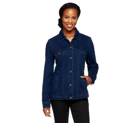 Denim & Co. Comfy Knit Denim Style Jacket with Bling Buttons