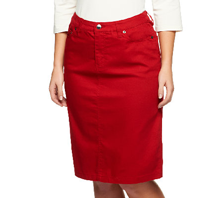 Liz Claiborne New York Knee Length Stretch Denim Jean Skirt - Page ...