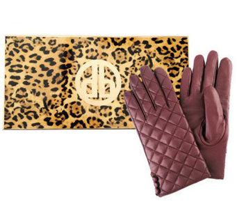 Dennis Basso Quilted Lamb Leather Gloves with Button Accent - A239668