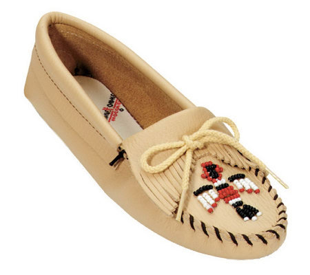 Minnetonka Smooth Leather Moccasins - Thunderbird Softsole