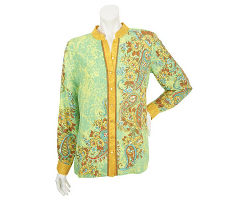 Bob Mackie's Floral Paisley Placement Print Shirt