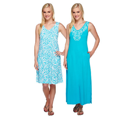 Stan Herman Beaded Vines Shift and Maxi Lounge Dress Set