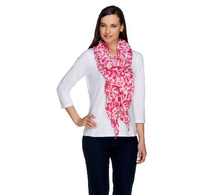 Susan Graver Printed Chiffon Scarf with Ruched Detailing