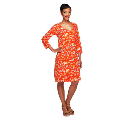 Liz Claiborne New York 3/4 Sleeve Floral Print Knit Dress