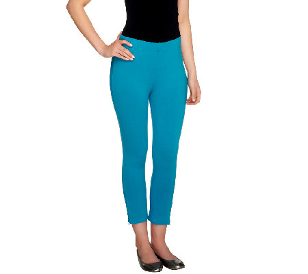 Susan Graver Weekend Stretch Cotton Crop Leggings w/Zipper Detail