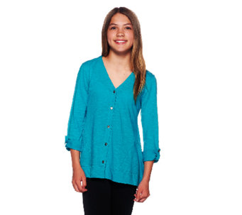 LOGO Littles by Lori Goldstein Knit Cardigan with Asymmetric Hem - A255468
