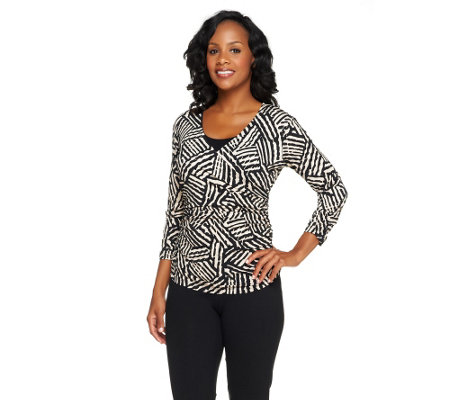 Susan Graver Printed Liquid Knit Surplice Wrap Ruched Top