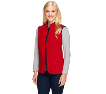 Susan Graver Reversible Zip Front Polar Fleece Vest - A257768