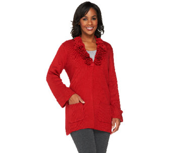 Joan Rivers Sweater Knit Cardigan with Rosette Detail - A258468