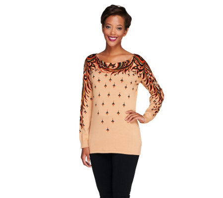 Bob Mackie's Long Sleeve Printed Boat Neck Sweater