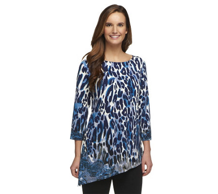 """As Is"" Susan Graver Liquid Knit Top with Asymmetrical Hem"