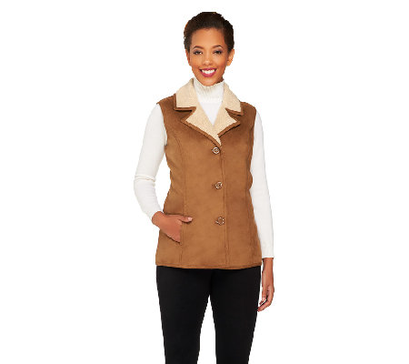 Denim & Co. Faux Shearling Button Front Vest