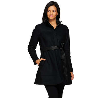 G.I.L.I. Wool Peplum Coat with Faux Leather Belt