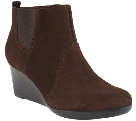 Clarks Leather or Suede Wedges - Crystal Quartz