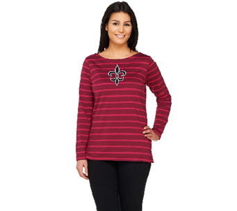 Bob Mackie's Striped Knit Top with Fleur De Lis Applique - A261768