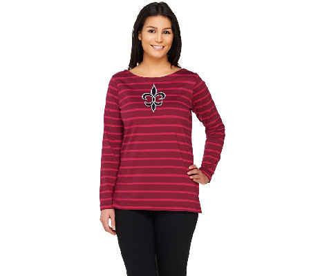 Bob Mackie's Striped Knit Top with Fleur De Lis Applique