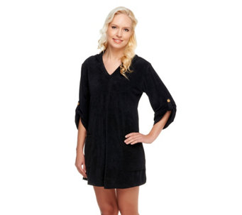 """As Is"" Denim & Co. Beach Knit Terry Cover-up w/ Hood & Pockets - A262168"