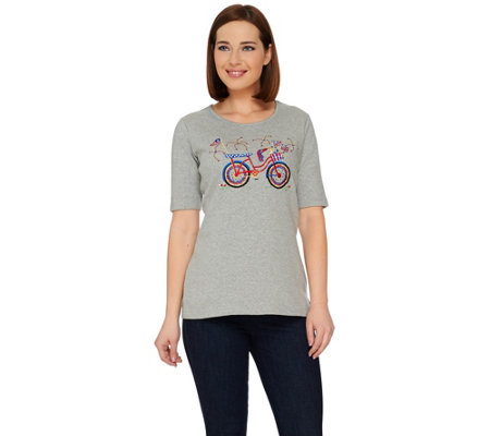 Quacker Factory Celebrate America Elbow Sleeve T-shirt