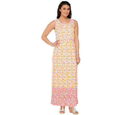 Liz Claiborne New York Regular Geo Border Print Maxi Dress