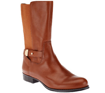 """As Is"" Isaac Mizrahi Live! Gored Leather Mid Shaft Boots - A264768"