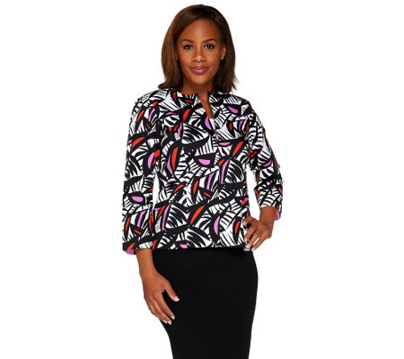 Bob Mackie's Bracelet Sleeve Zip Front Printed Jacket with Pockets