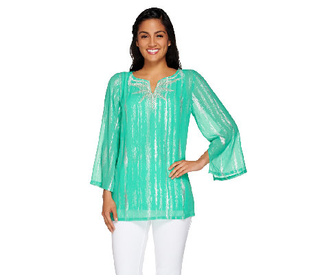 Bob Mackie's Split Neck Embroidered Metallic Georgette Top