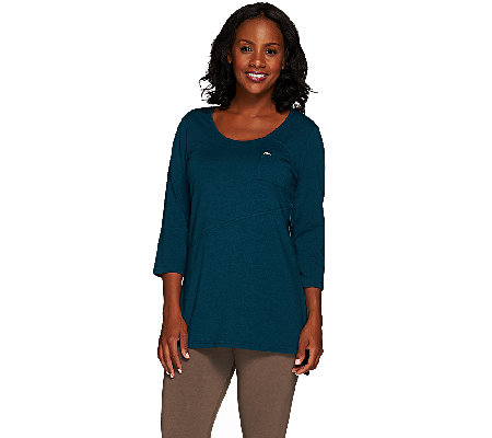 Denim & Co. Active 3/4 Sleeve Scoop Neck Tunic