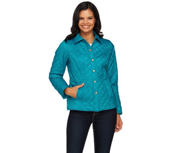 Joan Rivers Diamond Quilted Jacket with Snap Front - A268568