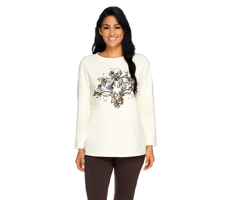 """As Is"" Susan Graver French Terry Long Sleeve Top w/ Embroidery"