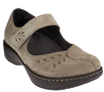 """As Is"" Dansko Leather or Suede Mary Janes w/Stitch Details - Annie - A269068"