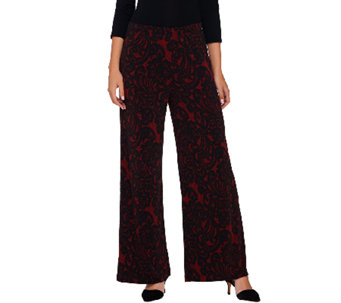 Bob Mackie's Regular Pull-On Lace Print Knit Pants - A269568
