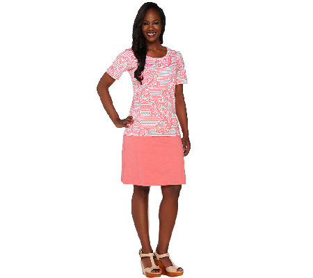 """As Is"" Denim & Co. Active/Golf Paisley Print Top & Skort Set"