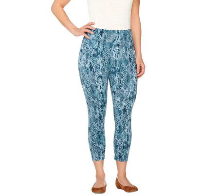 """As Is"" LOGO by Lori Goldstein Petite Pull-On Printed Knit Leggings"