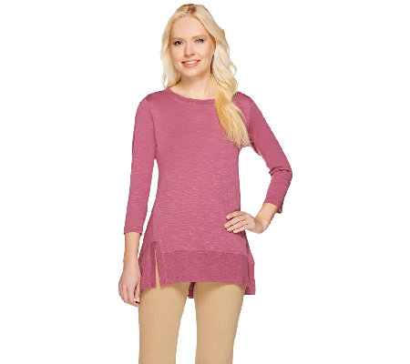 """As Is"" LOGO by Lori Goldstein 3/4 Sleeve Knit Top with Split Ribbed Hem"