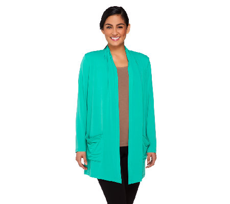 """As Is"" Susan Graver Liquid Knit Open Front Cardigan with Pockets"