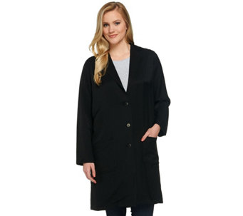 LOGO by Lori Goldstein Knit Twill Button Down Trench Coat - A273368