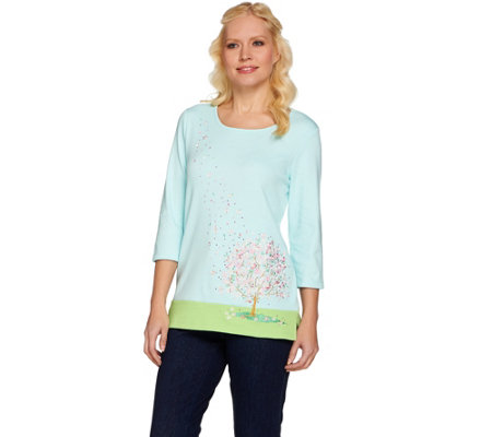 Quacker Factory Cherry Blossom Embroidered 3/4 Sleeve T-shirt