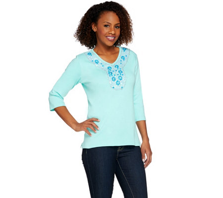 Quacker Factory Turquoise Embellished 3/4 Sleeve T-shirt