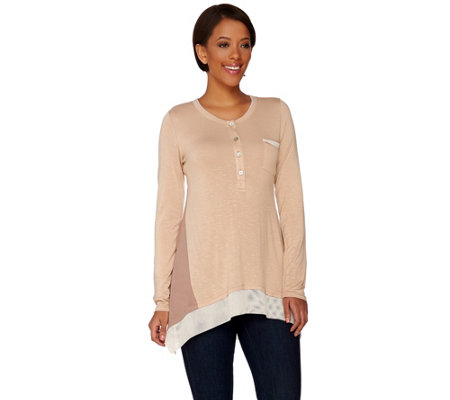 LOGO by Lori Goldstein Henley Slub Knit Top with Mesh Trim
