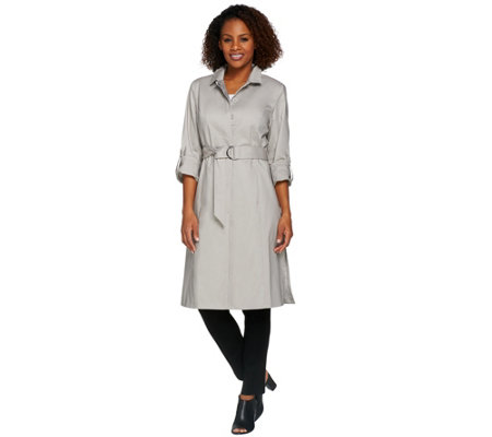 H by Halston Button Front Water Repellant Trench Coat