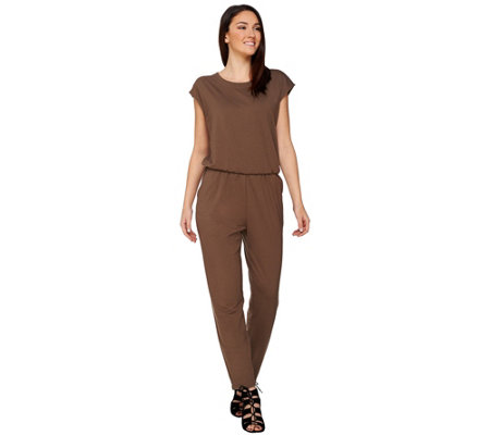 Lisa Rinna Collection Petite Knit Jumpsuit with Pockets