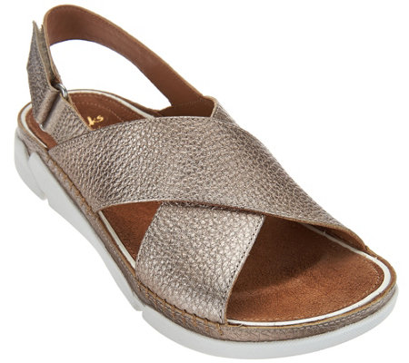 Clarks Artisan Leather Cross Strap Sandals - Tri Alexia