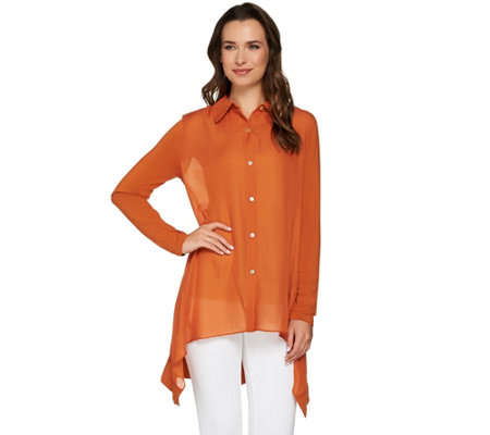 LOGO by Lori Goldstein Button Front Blouse with Knit Sleeves